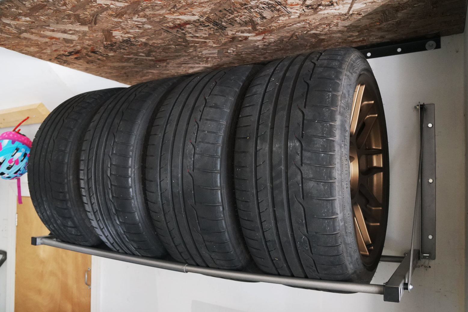 set of tires on the Maxxhaul tire wall mount