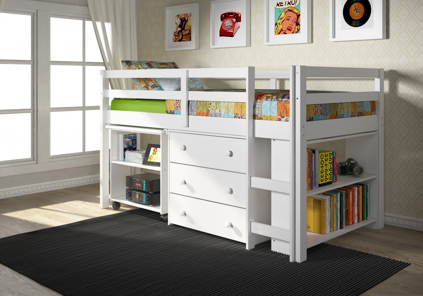 Donco Kids Twin Low Loft Bed With Desk Chest Bookcase