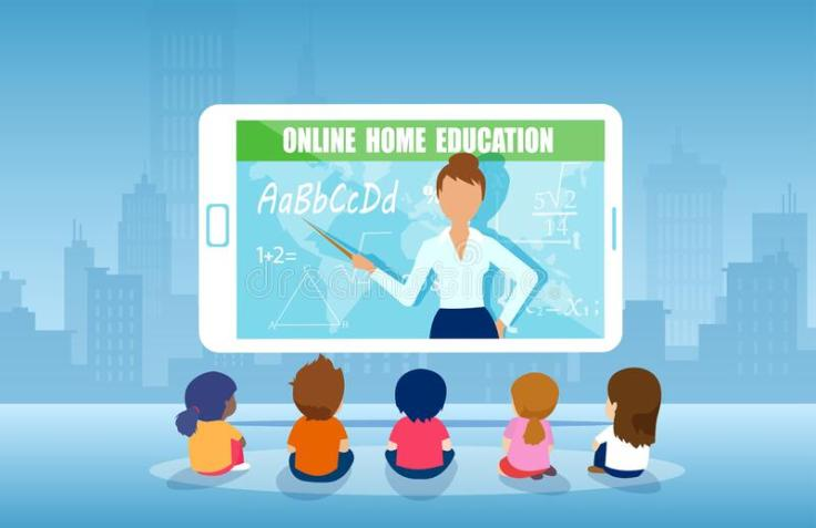 vector-group-kids-watching-online-teacher-class-tablet-computer-internet-education-home-program-concept-177532683