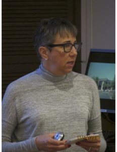 This picture is a head shot of Susan L. Trollinger as she speaks during a presentation at the University of Dayton.