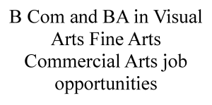 BCom and BA in Visual Arts Fine Arts Commercial Arts job opportunities