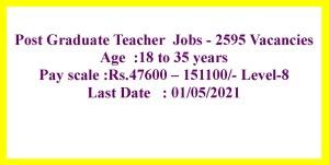 Post Graduate Teacher job opportunities 2595 Vacancies