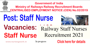 RRB staff nurse recruitment 2021 notification