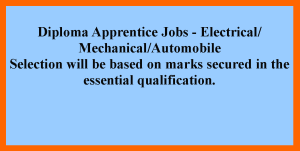 Diploma Electrical Mechanical Automobile Apprentice Jobs