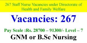 Health and Family Welfare 267 Staff Nurses Recruitment Notice