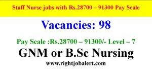 28700-93000 Pay scale 98 Staff Nurse Jobs