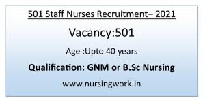 501 Diploma BSc Nursing Staff Nurses Recruitment