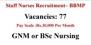 Staff Nurse job opportunities in Karnataka 2021