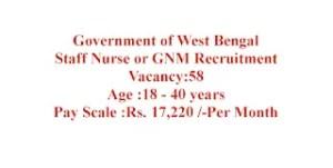 Staff nurse Job 58 Vacancies in West Bengal