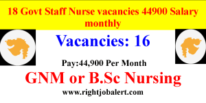 18 Govt Staff Nurse vacancies 44900 Salary monthly