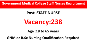 238 Staff Nurse Job Opportunities in Government Medical College