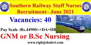 40 Nos Railway Staff Nurses Recruitment