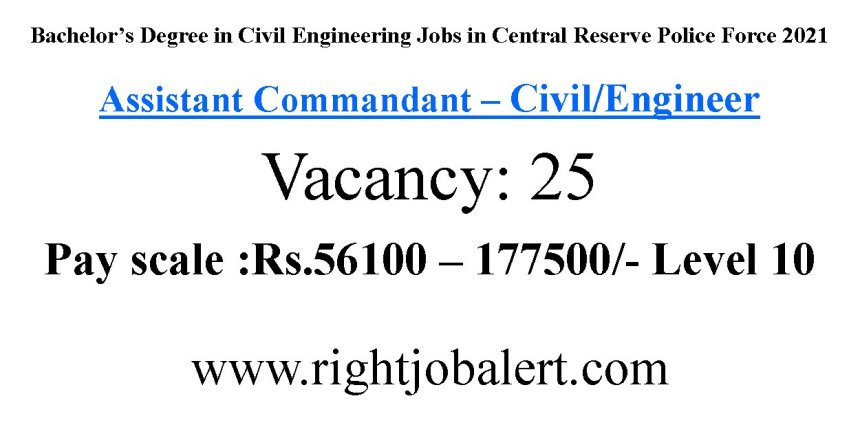 Bachelor's Degree in Civil Engineering Jobs in Central Reserve Police Force
