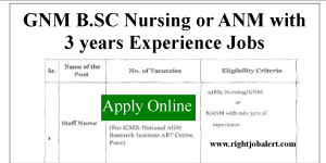 GNM B.SC Nursing or ANM with 3 years Experience Jobs
