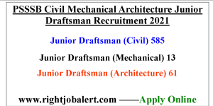 PSSSB Civil Mechanical Architecture Junior Draftsman Recruitment 2021