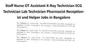 Staff Nurse OT Assistant X-Ray Technician ECG Technician Lab Technician Pharmacist Receptionist and Helper Jobs in Bangalore