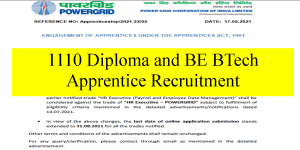 1110 Diploma and BE BTech Apprentice Recruitment