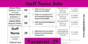 29 GNM B.Sc Staff Nurse Vacancies in West Bengal