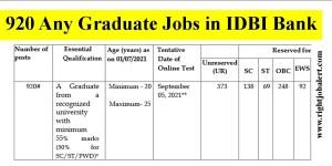 920 Any Graduate Jobs in IDBI Bank