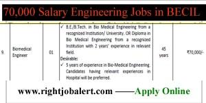 BECIL Biomedical Engineer and Other Job Vacancies- 70000 Salary per month
