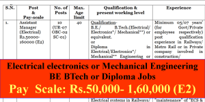 Electrical electronics or Mechanical Engineering BE BTech or Diploma Jobs