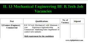 IL 13 Mechanical Engineering BE B.Tech Job Vacancies