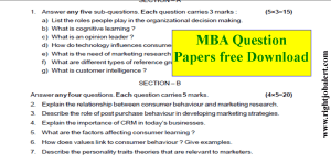 MBA Question Papers pdf download