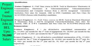 Project Engineer and Trainee Engineer Jobs in BEL