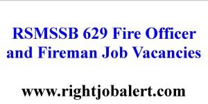 RSMSSB 629 Fire Officer and Fireman Job Vacancies