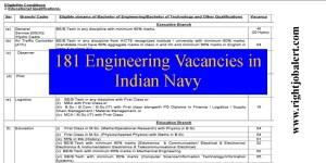 181 BE B Tech in Relevant Discipline Vacancies in Indian Navy