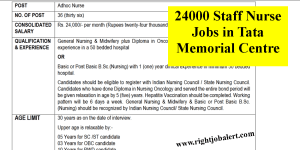 24000 Staff Nurse Jobs in Tata Memorial Centre