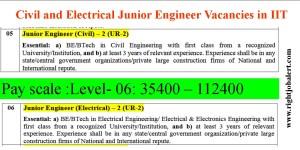 Civil and Electrical Junior Engineer Vacancies in IIT- Advt No 9
