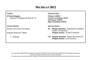 Michigan 2012 Delegate Rules Summary per the RNC