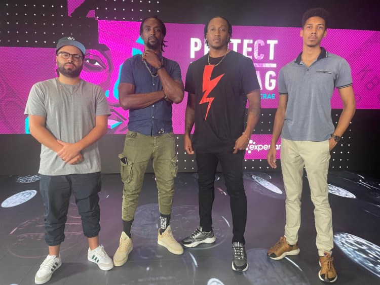 """Lecrae with his production company partners, 3 Strand Films! From left to right: Erick Hodge (producer), A.D. """"Lumkile"""" Thomason (producer, writer, director). Lecrae (host, artist), Reginald Brown (photographer, BTS, editor)."""