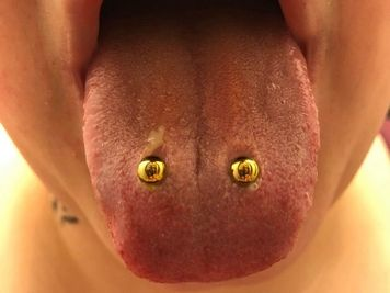 double tongue piercing gold jewelry