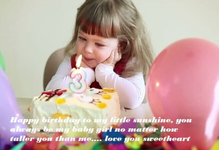 Cute Birthday Cake Wishes For Baby Girl