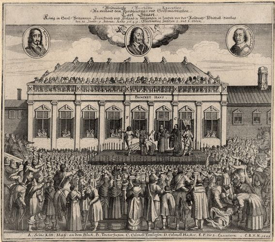 A contemporary German print showing the 1649 execution of Charles I outside the Banqueting House, Whitehall, London.