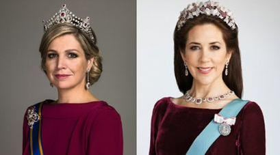 Queen Máxima of the Netherlands (left) and Crown Princess Mary of Denmark.