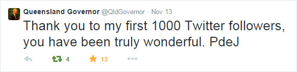 The Queensland Governor's first tweet