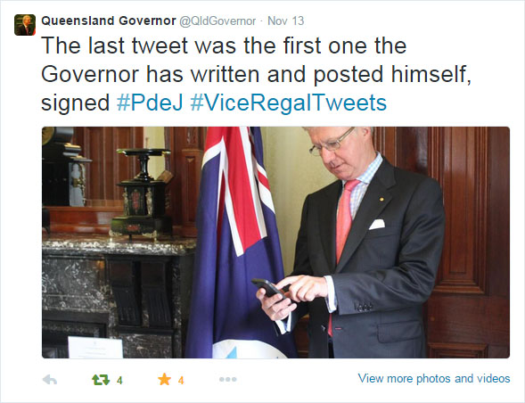 The Governor in action, sending his first tweet