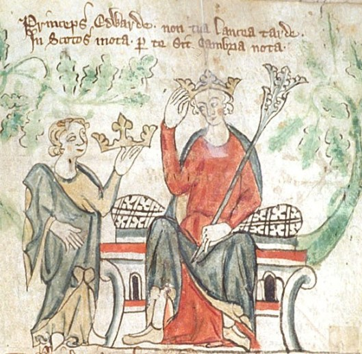 Edward II shown receiving the English crown in a contemporary illustration
