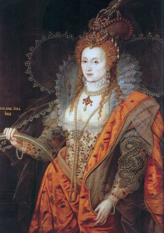 The Rainbow Portrait of Elizabeth I, c 1600–02. Attributed to Isaac Oliver