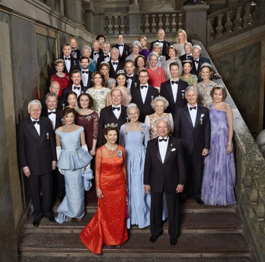 The King's 70th birthday. Guests of honor Royal Palace 30 April 2016 Photo: Peter Knutson/Kungahuset.se. Row 1: HM Queen Silvia, King Carl XVI Gustaf, Row 2: President Olafur Ragnar Grimsson, Mrs Dorrit Moussaieff, HM Queen Margrethe II. Row 3: President Sauli Niinistö, HM Queen Margarita, Ms Jenni Haukio, HSH Prince Albert II, HRH Princess Beatrix, HM King Philippe, HM Queen Mathilde, Row 4: HM King Simeon II, HRH Crown Prince Frederik, Crown Princess Mary, Crown Princess Victoria, HRH Prince Daniel, HSH Hereditary Prince Alois, HRH Hereditary Princess Sophie, Row 5: HRH Crown Princess Margaret, HRH Prince Carl Philip, HRH Princess Madeleine and Mr. Christopher O'Neill, Row 6: HRH Prince Radu, HRH Princess Christina, Mrs. Magnuson, HRH Crown Prince Alexander, HRH Crown Princess Katherine, HRH Princess Benedikte, HIH Princess Hisako Takamado, HH Prince Andreas of Saxe-Coburg and Gotha, Row 7: Mr Thomas de Toledo Sommerlath, Mr Ralf de Toledo Sommerlath, General Tord Magnuson , HRH Princess Margaretha, Mrs. Ambler, HRH Princess Birgitta of Sweden, HRH Princess Désirée baroness Silfverschiöld, Baron Niclas Silfverschiöld, Row 8: Ms. Ewa Westling, Mr Olle Westling, Mrs. Marie Hellqvist, Mr Erik Hellqvist, Ms Eva Maria O'Neill