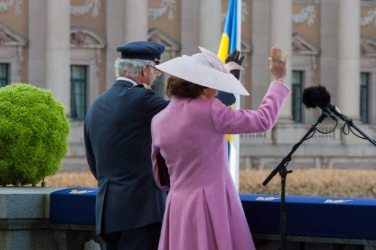 King Carl XVI Gustaf and Queen Silvia on the Lejonbacken Terrace listening to the Choral Tribute. Photo: Kungahuset.se