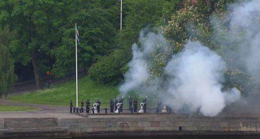A 21-gun salute at Skeppsholmen
