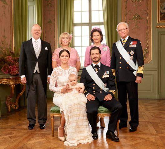 HRH Princess Sofia; HRH Prince Alexander; HRH Prince Carl Philip; Mr Erik Hellqvist; Mrs Marie Hellqvist, HM Queen Silvia HM, King Carl XVI Gustaf