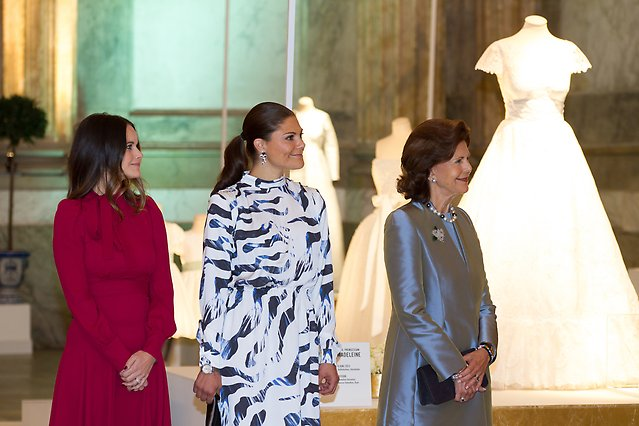 """Princess Sofia, Crown Princess Victoria and Queen Silvia attend the opening of the exhibition """"Royal Wedding Gowns 1976-2015"""" in the Hall of State at the Royal Palace, 17 October 2016"""