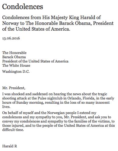 Condolences from King Harald V of Norway.