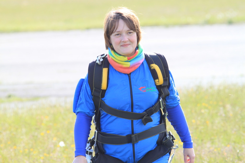 Carol Fry after her skydive