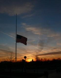 US halfstaff sunset